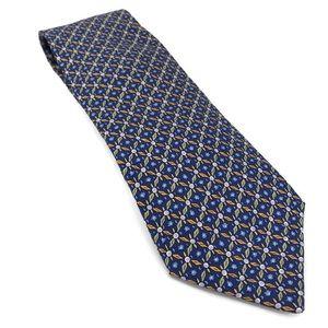 Hermes Blue Geometric Floral Silk Tie